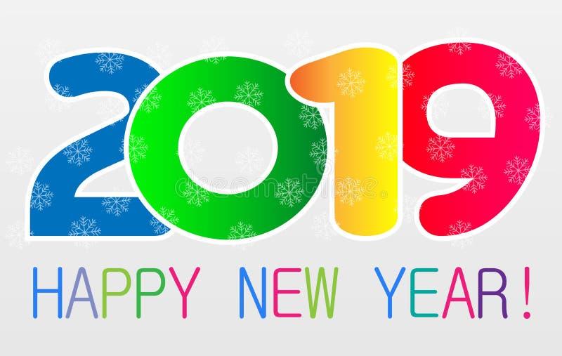 新年快乐2019卡片和问候文本设计 皇族释放例证
