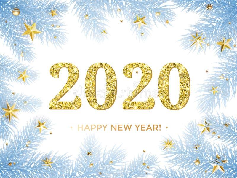 新年快乐2020在圣诞树框架的闪烁金子与金黄星五彩纸屑 导航与闪烁的文本的蓝色霜 皇族释放例证