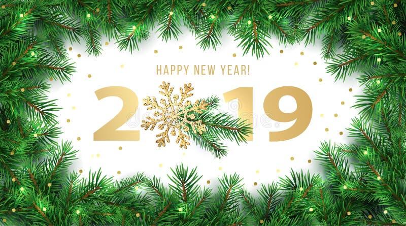 新年快乐2019寒假贺卡与冷杉分支框架和发光的金雪花装饰的设计模板 库存图片
