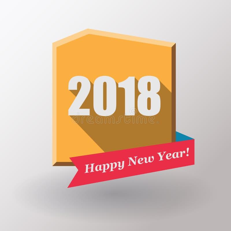 新年快乐2018平的标签和邮票 库存例证