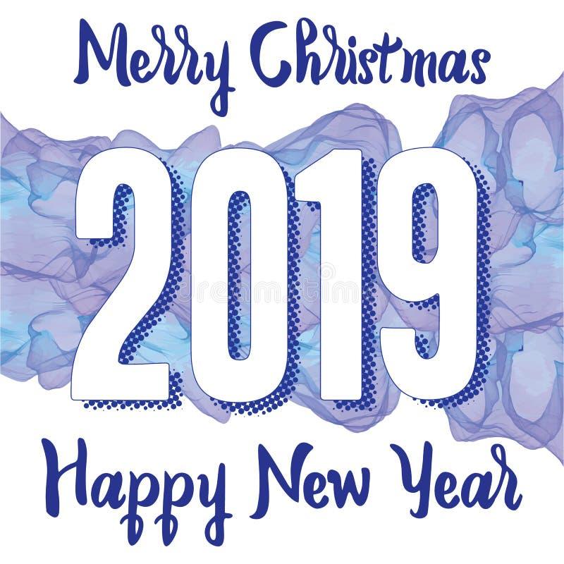 新年快乐2019年与数字的贺卡在发烟性背景 也corel凹道例证向量 圣诞快乐飞行物或海报设计 库存例证