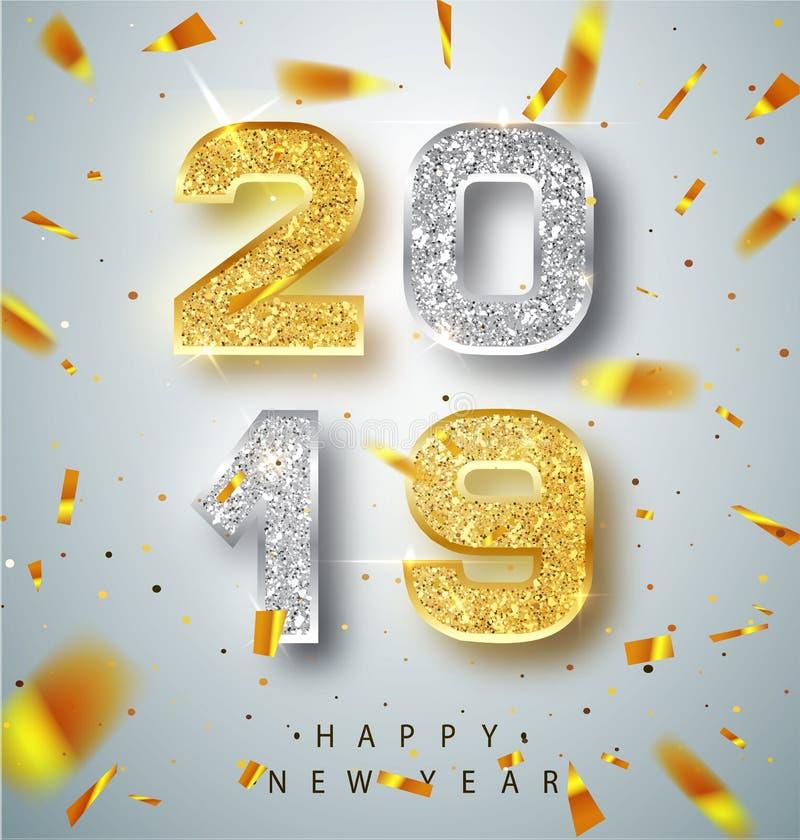 新年快乐2019年与金子和银数字的贺卡在白色背景 也corel凹道例证向量 快活的圣诞节 库存例证