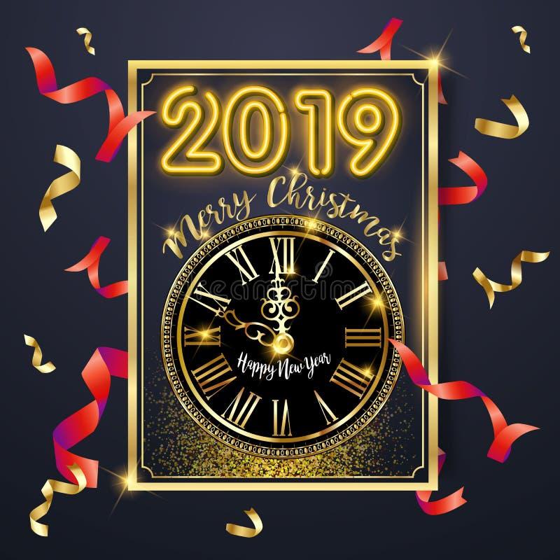 新年快乐2019年与金子和银数字的贺卡在黑背景 也corel凹道例证向量 圣诞快乐飞行物 向量例证