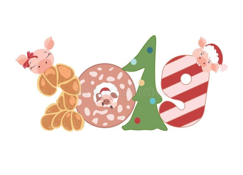 新年快乐2019年乐趣猪字符 横幅模板 向量例证