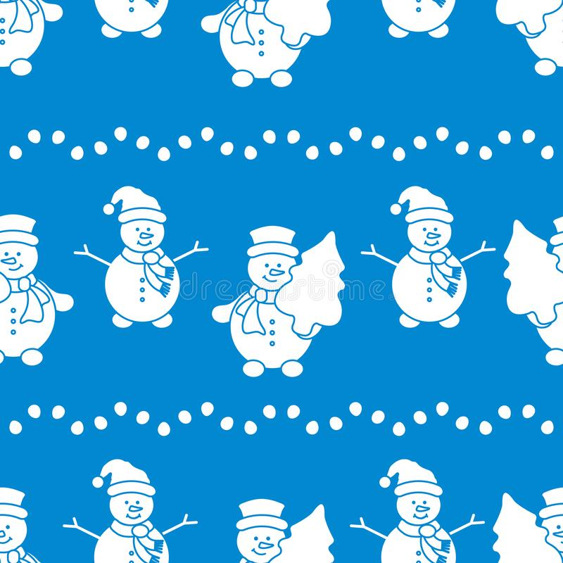 新年快乐2019年和圣诞节无缝的样式 与雪人和圣诞树的传染媒介例证 包裹的设计, 库存例证