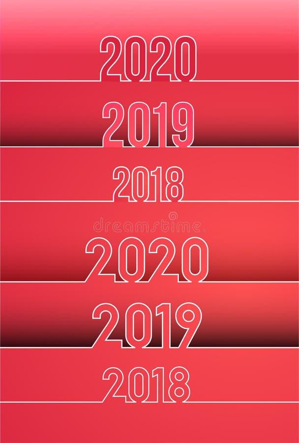 新年快乐2019年和2018年, 2020年背景 套日历设计印刷术 与概述数字的年数字 传染媒介illustra 库存例证