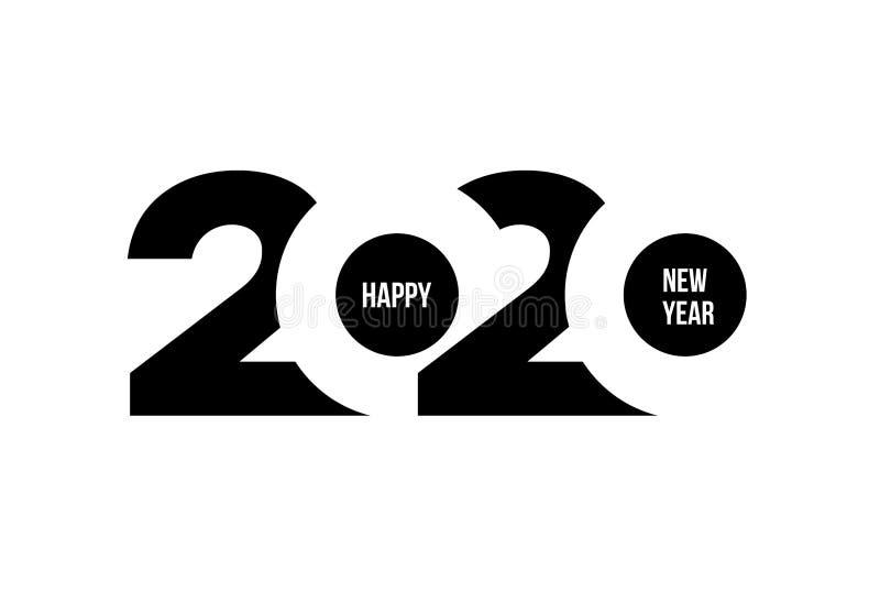 新年快乐2020年商标文本设计 企业日志盖子在2020年与愿望 小册子设计模板,卡片,横幅 向量 皇族释放例证