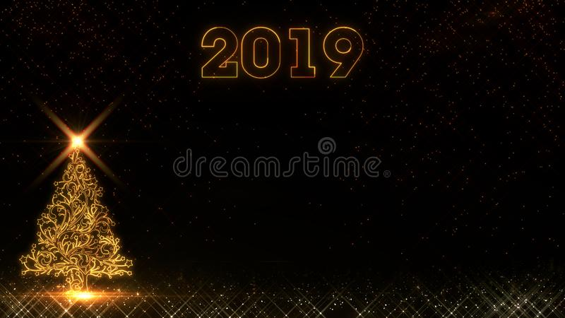 新年快乐2019年圣诞树金黄轻的亮光微粒烟花背景 向量例证