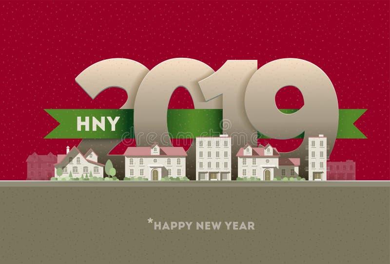 新年快乐2019年在城市 皇族释放例证