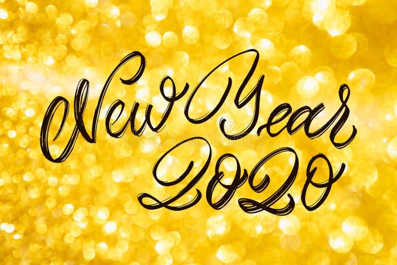 新年快乐2020年庆祝文本 库存图片
