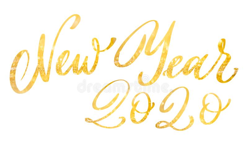 新年快乐2020年庆祝文本 免版税库存照片