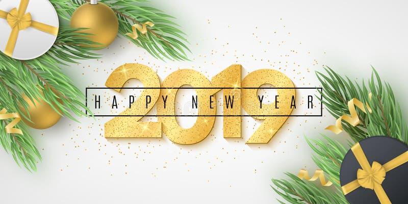 新年快乐2019年网横幅 金黄闪烁的数字 与礼物盒,圣诞节球,蛇纹石的杉树 现代欢乐 向量例证