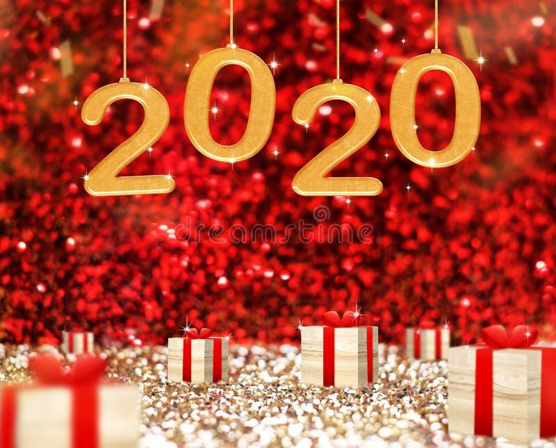 新年快乐2020年贺卡和木当前箱子在红色闪耀的闪烁透视背景,假日concept3d 免版税库存图片