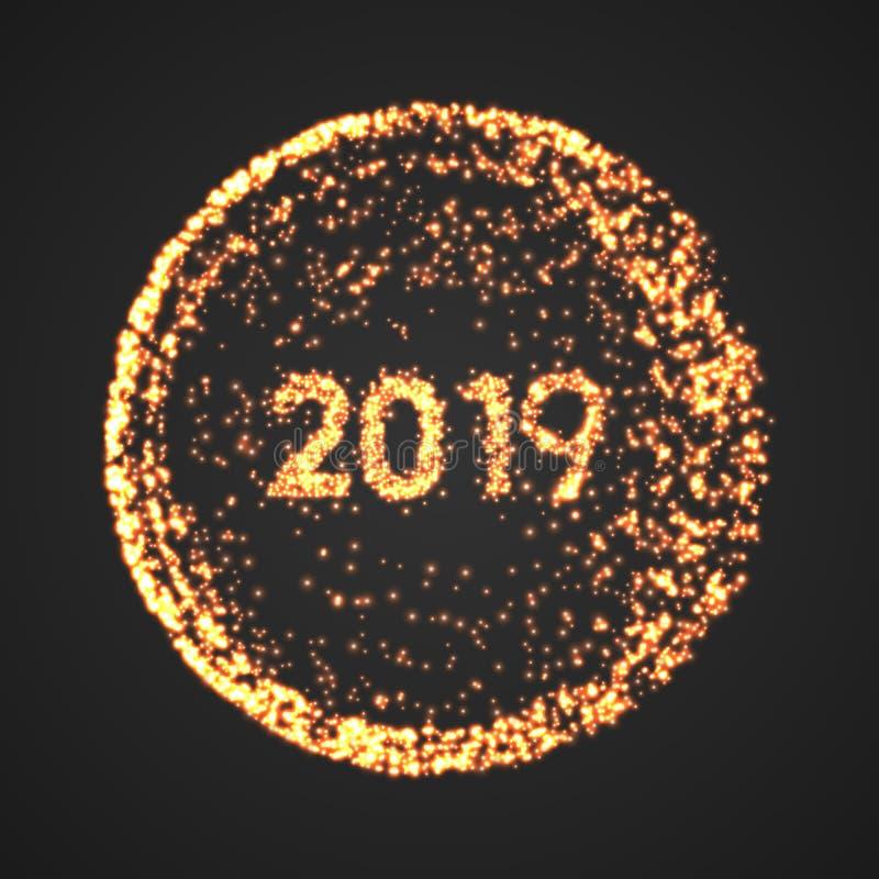 新年快乐2019年金圈子海报 微粒假日小点概念 传染媒介闪闪发光光例证 向量例证