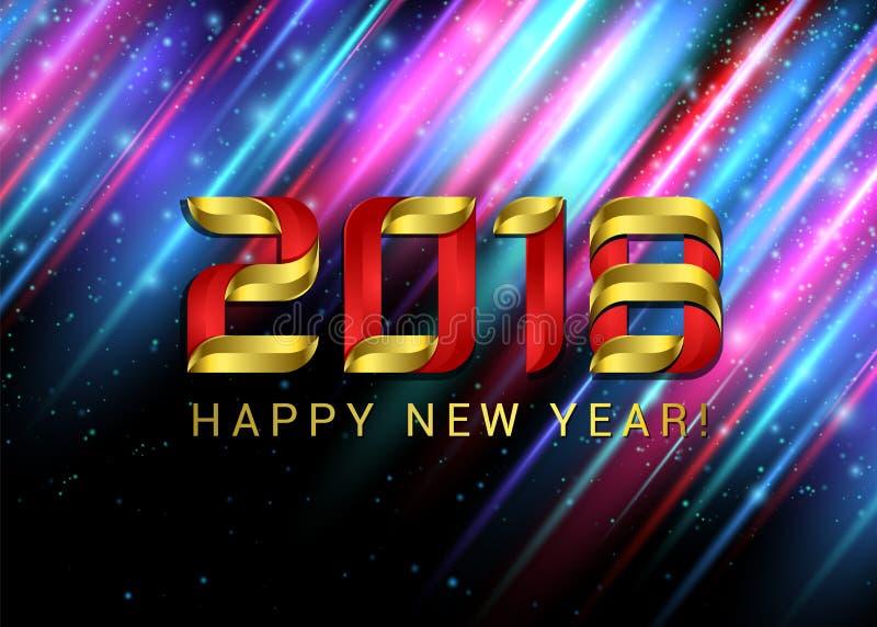 新年快乐2018年金子在与五颜六色的灯光管制线的黑背景编号 招呼的传染媒介例证 库存例证