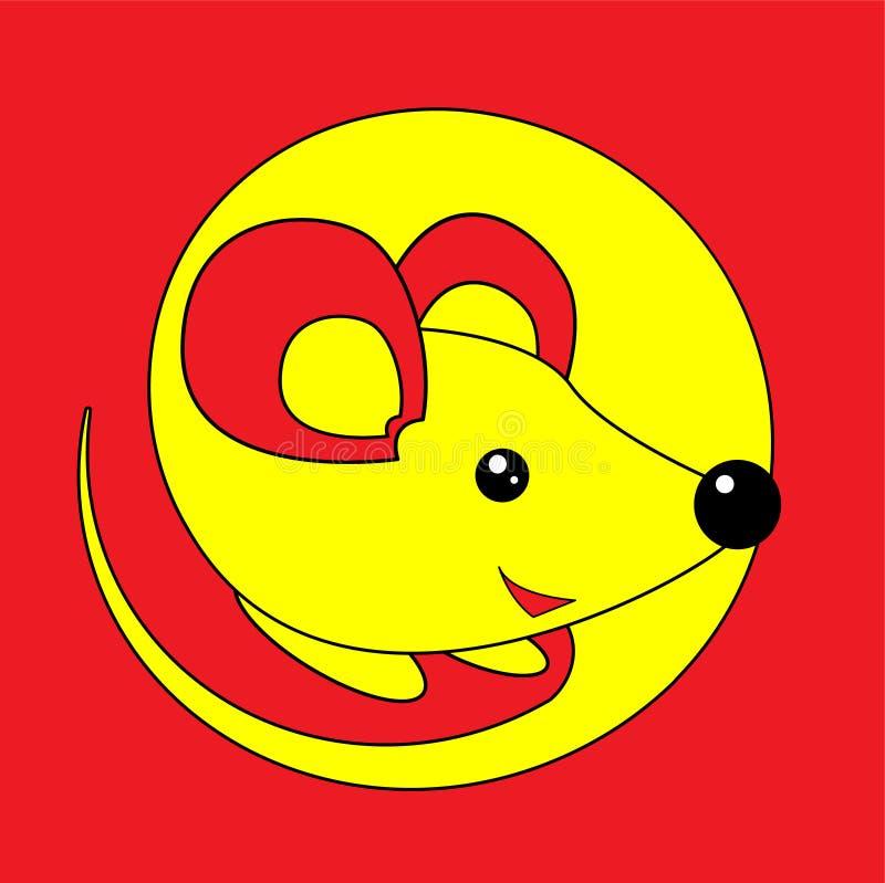 新年快乐2020年鼠 在红色背景的黄色老鼠在动画片平的样式 十二生肖标志年  库存例证