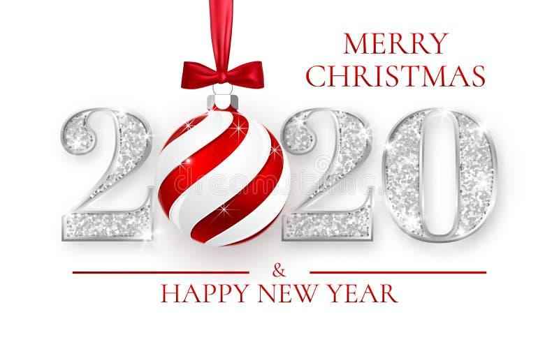 新年快乐2020年,贺卡,与红色弓,传染媒介例证的Xmas球银色数字设计  向量例证