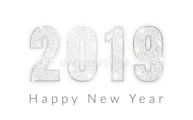 新年快乐2019年,贺卡,传染媒介例证银色数字设计  向量例证