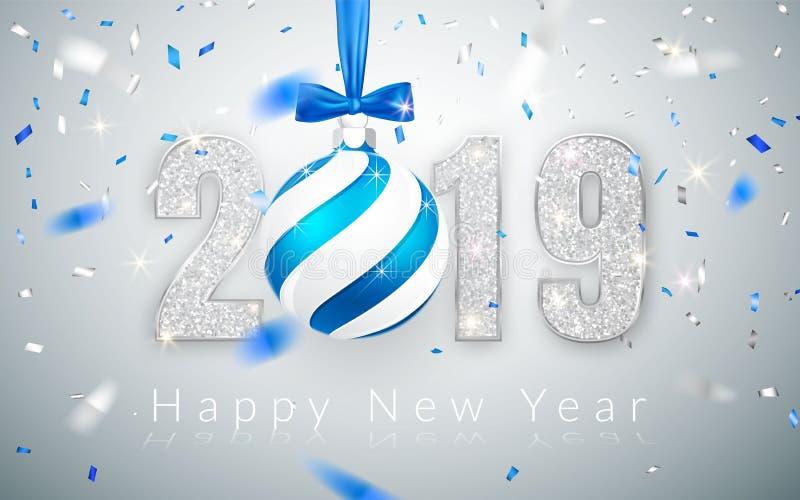 新年快乐2019年,贺卡,落的发光的五彩纸屑,与蓝色弓,传染媒介例证的Xmas球银色数字设计  库存例证