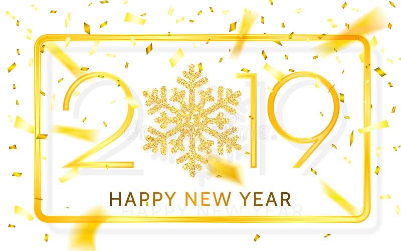 新年快乐2019年 与丝带和五彩纸屑的金黄数字在白色背景 也corel凹道例证向量 皇族释放例证