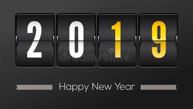 新年快乐2019年 与数字的机场时间表 轻碰读秒定时器以年的数量 背景读秒设计例证定时器白色 皇族释放例证