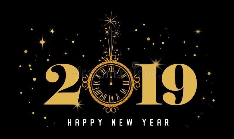 新年快乐2019年-与金子时钟和闪烁的新年发光的背景 库存例证