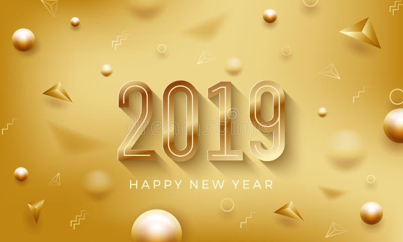 新年快乐2019年 与闪耀的金黄数字的创造性的抽象传染媒介例证在金黄背景 库存例证