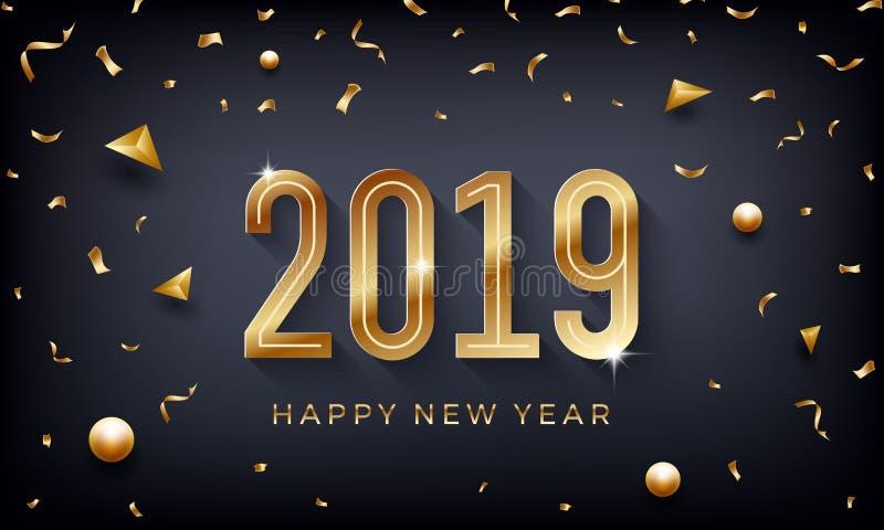 新年快乐2019年 与闪耀的金黄数字的创造性的抽象传染媒介例证在黑暗的背景 向量例证