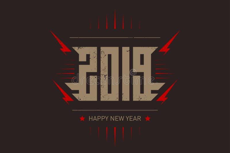 新年快乐2019年-与风格化题字、红色闪电和星的音乐海报 T恤杉服装凉快的印刷品与 库存例证