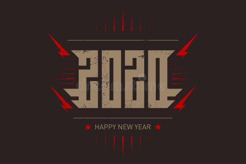 新年快乐2020年-与风格化题字、红色闪电和星的音乐海报 T恤杉服装凉快的印刷品与 皇族释放例证