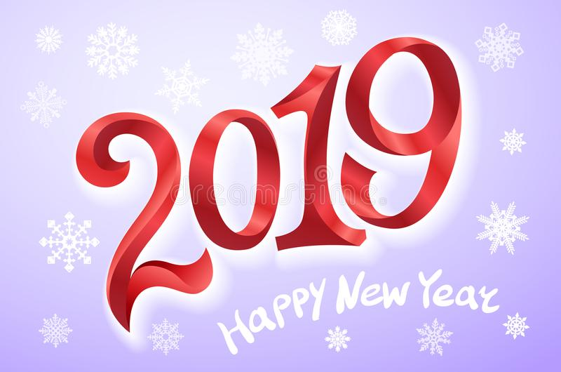 新年快乐2019年 2007个看板卡招呼的新年好 二千和十九 把在紫罗兰色背景的红色数字录音 雪花传染媒介illustratio 向量例证