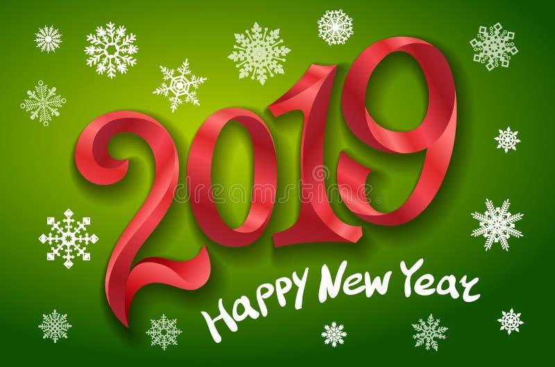 新年快乐2019年 2007个看板卡招呼的新年好 二千和十九 把在绿色背景的红色数字录音 雪花传染媒介例证 库存例证