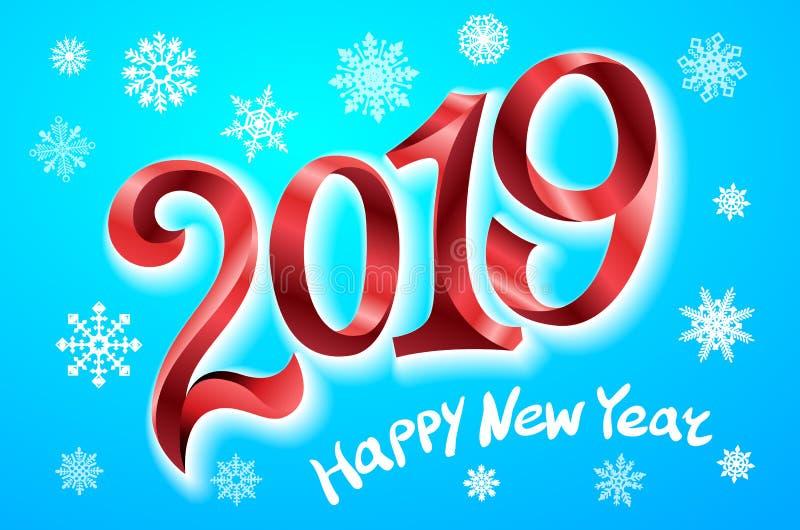 新年快乐2019年 2007个看板卡招呼的新年好 二千和十九 把在蓝色背景的红色数字录音 雪花传染媒介例证 皇族释放例证