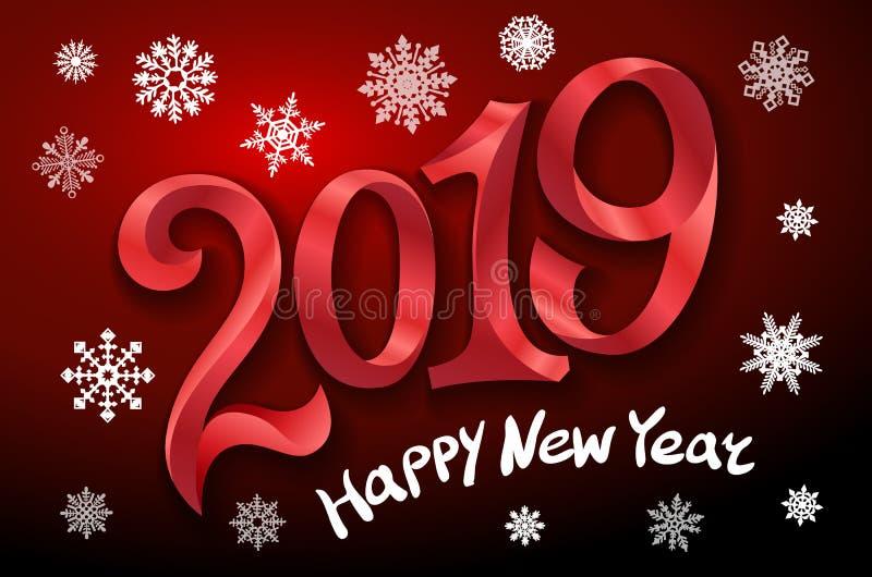 新年快乐2019年 2007个看板卡招呼的新年好 二千和十九 把在黑暗的背景的红色数字录音 雪花传染媒介例证 向量例证