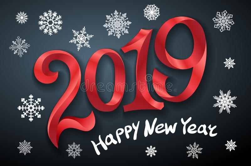 新年快乐2019年 2007个看板卡招呼的新年好 二千和十九 把在黑背景的红色数字录音 雪花传染媒介例证 库存例证