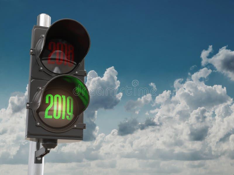 新年快乐2019年 有绿灯的红绿灯2019年在天空 皇族释放例证