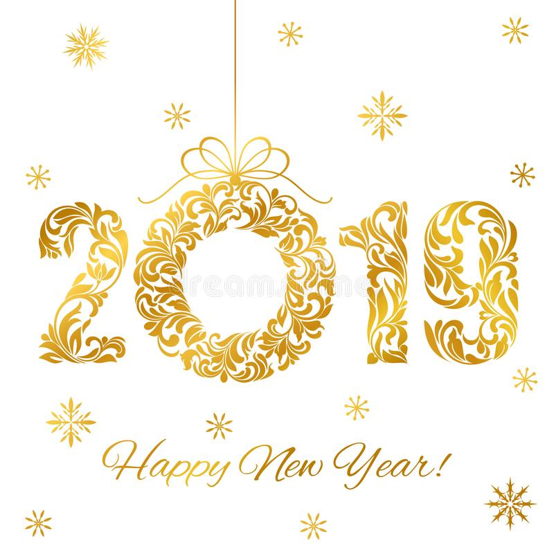新年快乐2019年 装饰字体由漩涡和花卉元素做成 在白色隔绝的金黄数字和圣诞节花圈 皇族释放例证