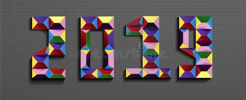 新年快乐2019年 3D从lego砖的数字在灰色金属背景 3d文本关于新年 向量例证