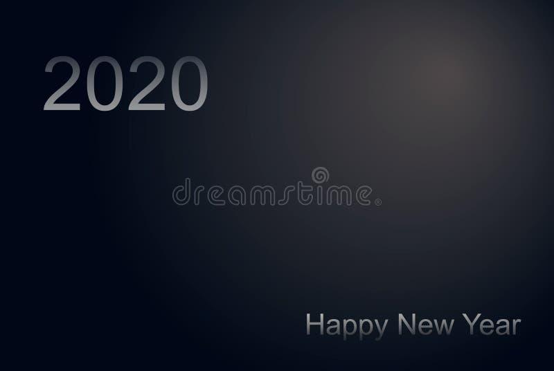 新年快乐2020数字 在表面无光泽的黑背景的银色文本 拷贝空间在中心 豪华水平的飞行物,招呼横幅 向量例证