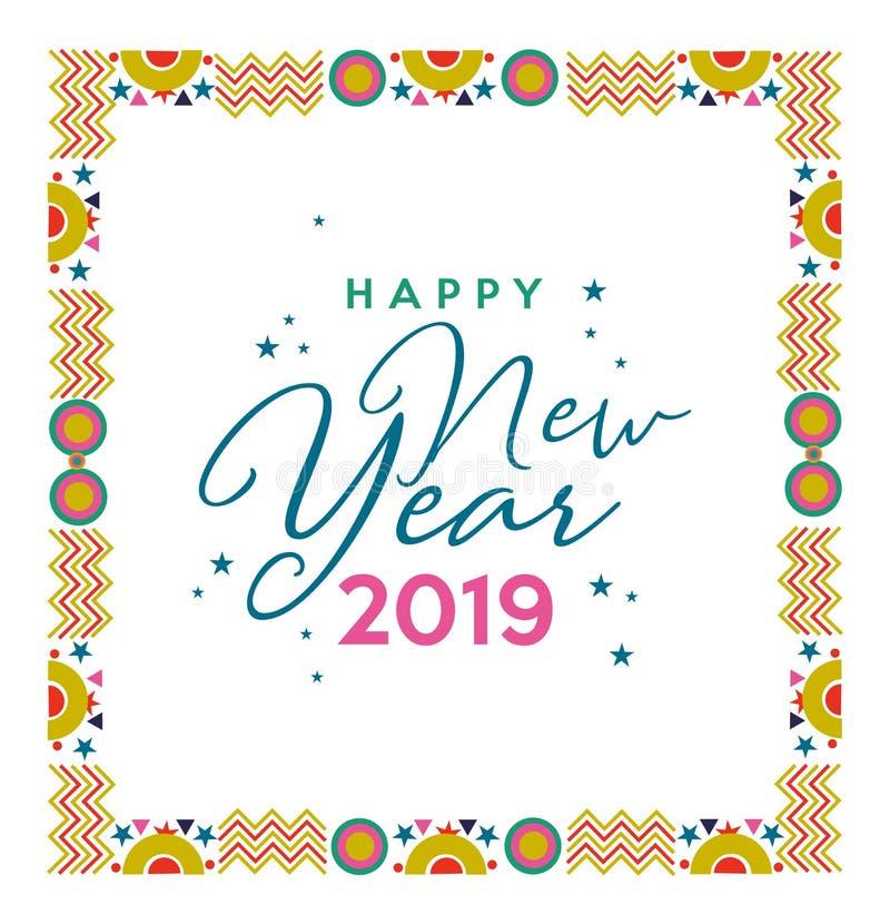 新年快乐2019欢乐框架颜色卡片 向量例证