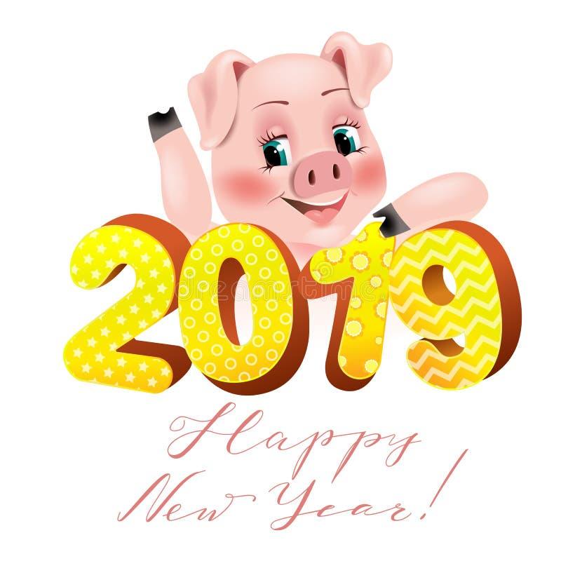 与滑稽的猪的新年快乐卡片2019年 新年快乐,假日贺卡,传染媒介例证图片