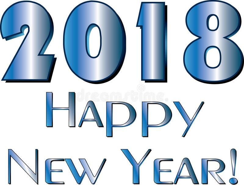 新年快乐2018镀铬物 皇族释放例证