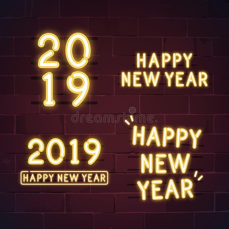 新年快乐2019霓虹灯广告传染媒介集合 库存例证