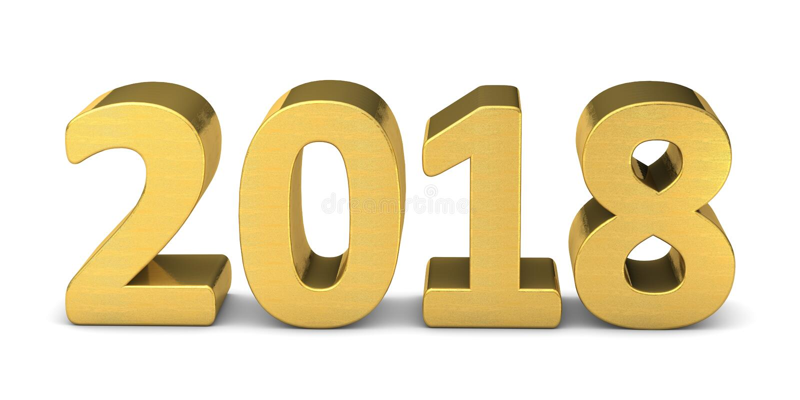 新年文本金子2018个3D 皇族释放例证