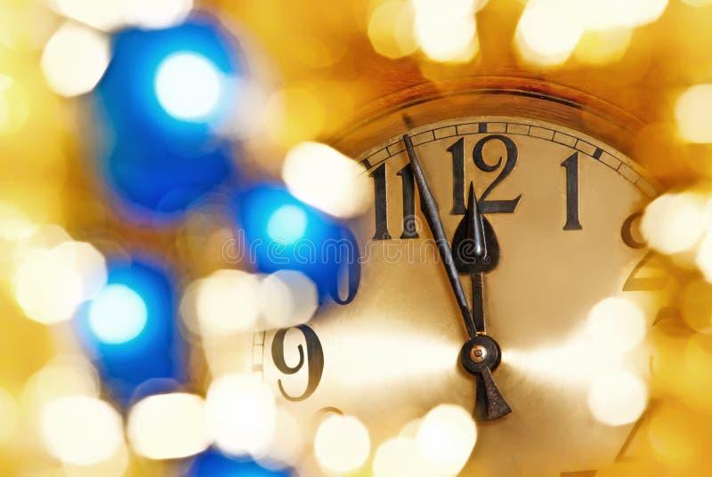 新年时钟表盘细节  图库摄影