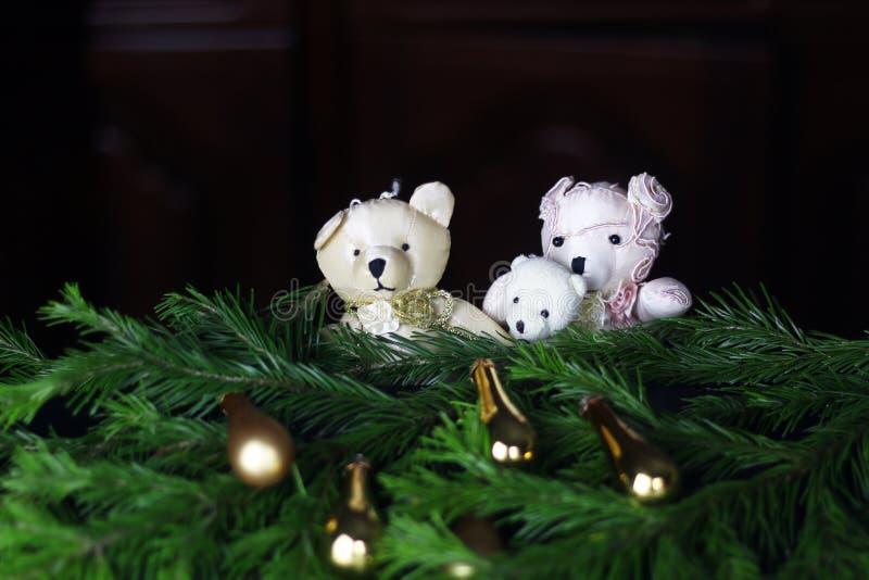 新年树玩具熊 免版税库存照片