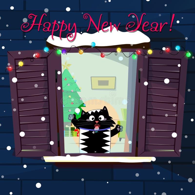 新年滑稽的在窗口的动画片猫捉住的雪剥落贺卡  向量例证