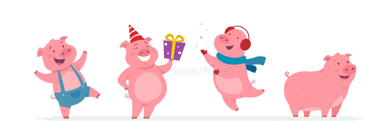 新年猪-被设置的现代传染媒介漫画人物 库存例证