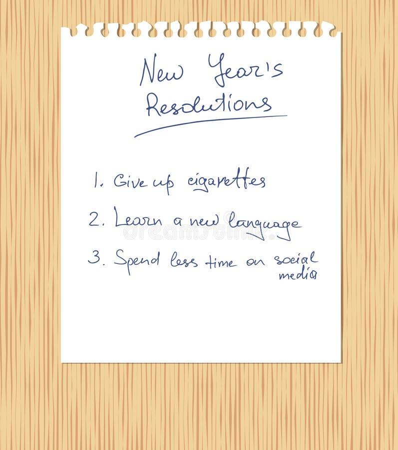 新年的决议手写在被剥去笔记本的板料的白色 库存例证