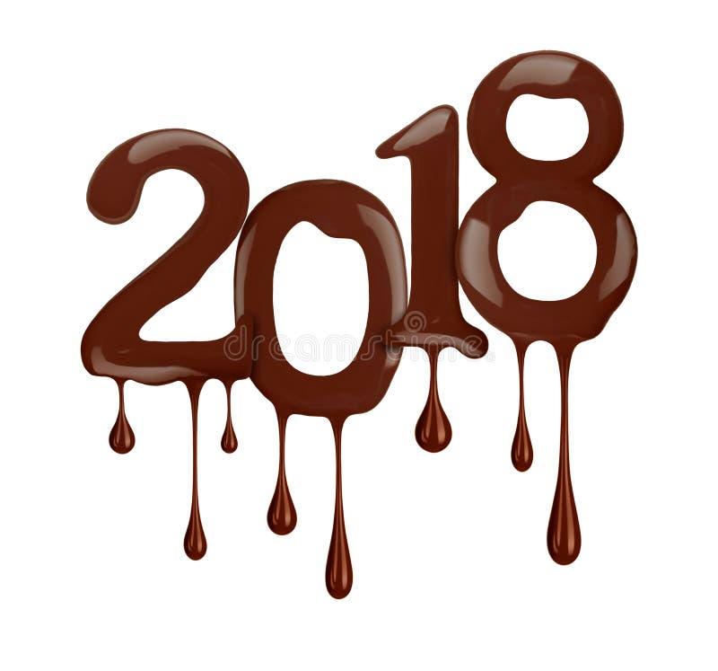 新年的日期2018年在巧克力版本显示 向量例证